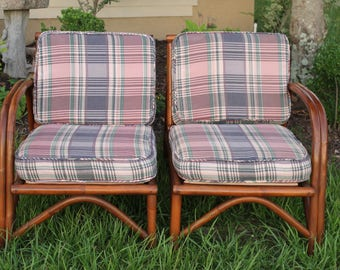 Vintage 1970s Rattan Chairs Split Love Seat 2 Single Chairs or Love Seat Couch Pastel Fabric Plaid Design Clean