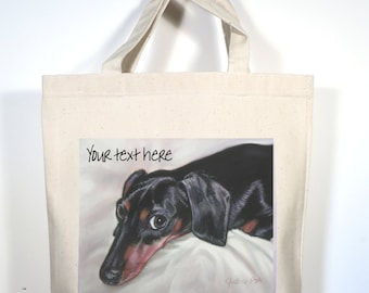 Dachshund Tote, Custom Dachshund Canvas Tote, Choose from Black or Red Doxie