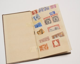 Vintage Stamp Book with Postage Stamps