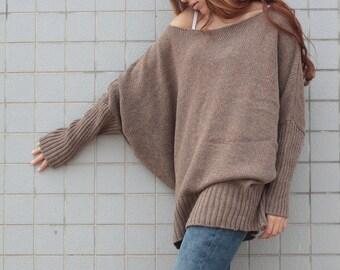 OVERSIZED Woman sweater/ Knit sweater kimono sleeve pullover wool sweater almond -ready to ship