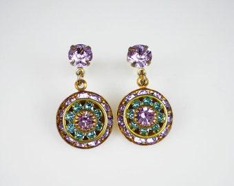 Lavender & Turquoise Rhinestone Earrings Swarovski Violet Light Turquoise Rhinestone Beveled Rondelle Disk Drop Earrings Bridesmaid Jewelry