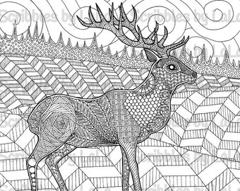 Printable Adult Coloring Page - Elk - High Quality - PDF Instant Download