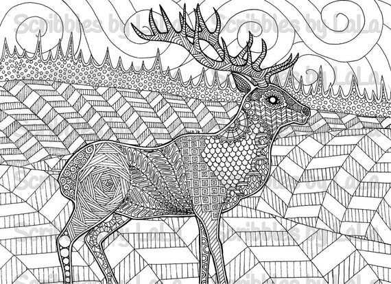 Printable Adult Coloring Page Elk High Quality PDF