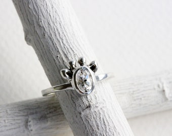 Small Giraffe White Topaz Ring,Sterling Silver Giraffe Ring,Giraffe Fine Jewelry,MADE TO ORDER