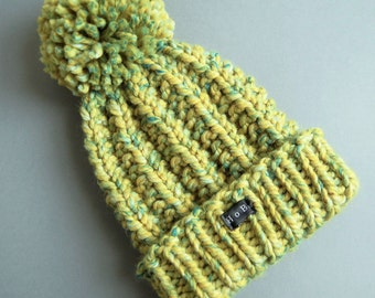 Womens Bobble Hat. Chunky hand knit pom pom beanie hat. Thick lime green/yellow and teal wool blend. Large detachable pom pom. HoBo Handmade
