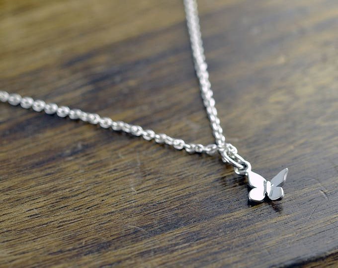 Tiny Butterfly Necklace, Silver Butterfly Necklace, Butterfly Charm, Butterfly Jewelry, Dainty Jewelry, Gift for Women, gift for Her