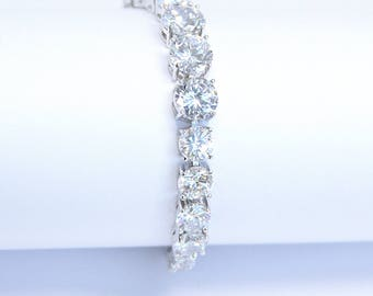 Art Deco Cubic Zirconia Bridal Solitaire Tennis Bracelet Wedding Bracelet Bridal Earrings Bracelet Cocktail Jewelry