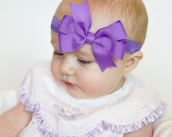 Lavender Headband, Lavender Bow Headband, Lavender Hair Bow, Baby Headband, Baby Shower Gift, Newborn Headband, Newborn Photo Prop