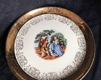 Sabin Crest-O-Gold 22K Plates / SAB1 People Plates / 22 Karat Gold / Vintage Bread & Butter China ~ #A1074