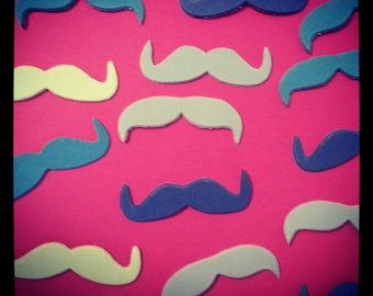 50 pack Shades of Blue Adhesive Foam Mustache Stickers (KID SIZE), Fake Mustaches, Adhesive Moustache, Moustache, Mustache Party Favors