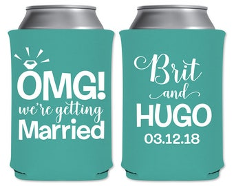 Neoprene Can Coolers Beverage Insulator Personalized Rehearsal Dinner Engagement Party Favor | OMG We're Getting Married | READ DESCRIPTION