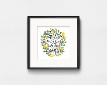 Hey Little Fighter | Watercolor Quote | Art Print | Inspirational Wall Art | Wall Decor | Hand Lettering | 8x8 | 10x10 | 12x12