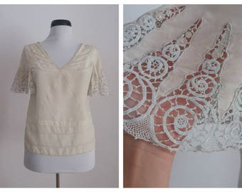 Vintage 1920s blouse | 20s silk blouse | 1920s embroidered blouse