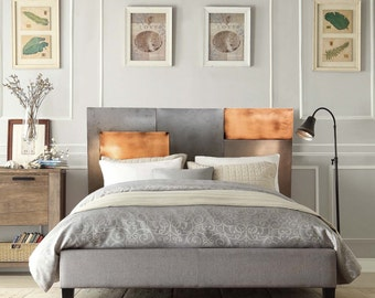 Queen Mixed Metal Headboard - bedroom furniture - Steel and Copper Headboard