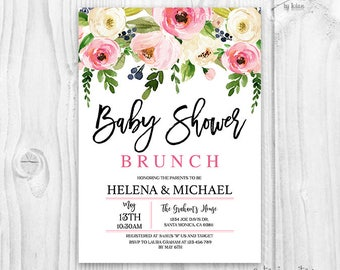 Floral baby shower invitation brunch for baby invitation floral baby shower invitation brunch for baby invitation baby girl invites boho baby filmwisefo Image collections