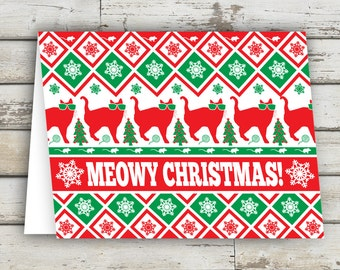 Meowy Christmas, Christmas Card, Cat, Cats, Cat Cards, Christmas Cat, XMAS, Xmas Card, Meowy Catmas, Meow