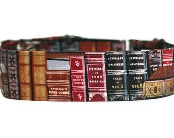 Old Books Dog Collar / Custom Dog Collar / Martingale Dog Collar
