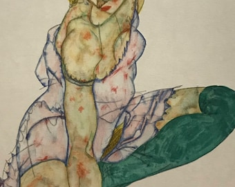 """Egon Schiele """"Girl in green Stockings"""" from Egon Schiele-As a Draughtman by Otto Denesch, 1950, 9.25 x 13.5 inches"""