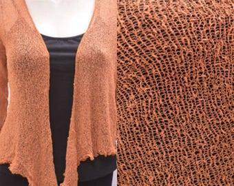 Boho chic crochet style knit shrug cardigan Mocha onesize 10 12 14 16 18 20