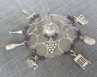"""Wine Glass Charms - """"All About Wine"""""""