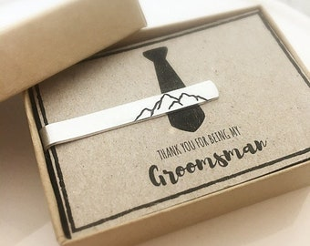 Groomsman Gift - Thank you for being my Groomsman - Personalized Gift for Groomsmen - Mountain Tie Clip - Southwestern Wedding