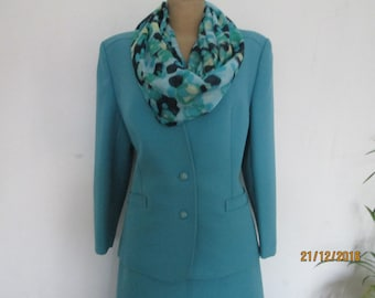 2 PC Skirt Suit / Skirt Suit Vintage / Skirt and Jacket / Two Piece / Turquoise Skirt Suit / Size EUR42 / UK14