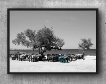 Beach Tavern Greek Greece Cyclades art Greece black and white fine art photography black and white photography 30 x 20 cm