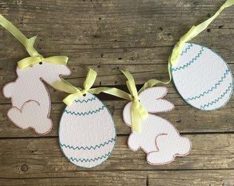 Handmade Easter Banner, Vintage Style, Shabby, Garland, Bunnies, Eggs