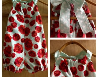 Rose and Polka Dot Cotton Spring/Summer Romper, size 3t