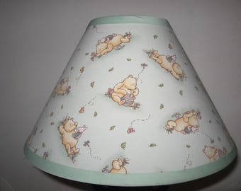 Classic Winnie the Pooh Fabric Nursery Lamp Shade/Light Green/Baby Shower Gift/Lampshade/Baby Gift