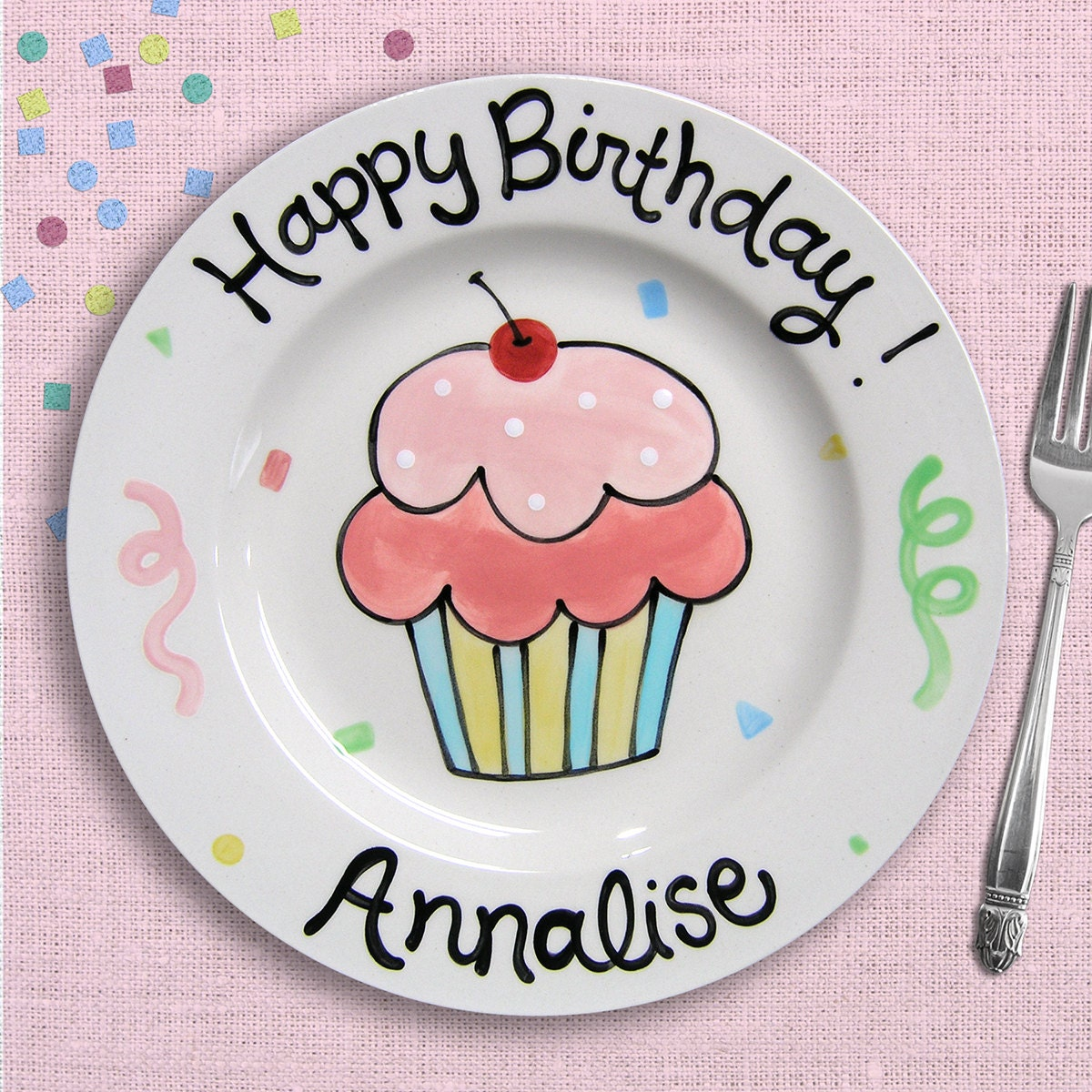 Pink Birthday Plate Personalized First Gift Cupcake Girl 1st
