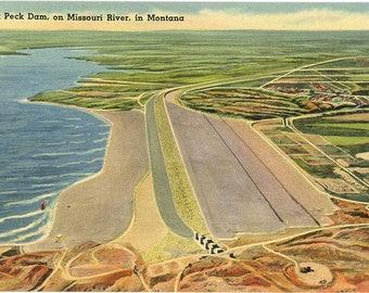 Fort Peck Dam on Missouri River Northeast Montana near Glasgow Vintage Postcard (unused)