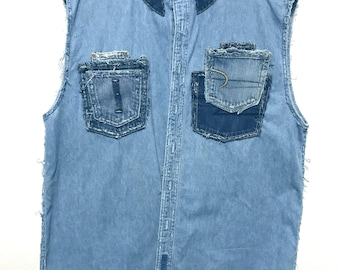 Stylish Blue denim sleeveless shirt (Large)