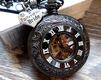 Father of The Bride Pocket Watch Personalized Black Mechanical with Chain Father of the Bride Gift Idea Father Gift Bride's Dad Gift BLRMW