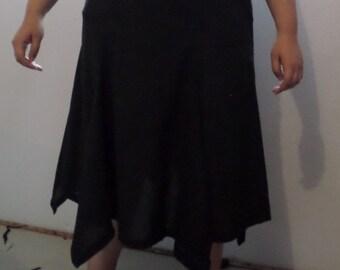 Hankerchief hem skirt with godets
