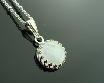 Rainbow Moonstone Bezel Set Sterling Silver Pendant