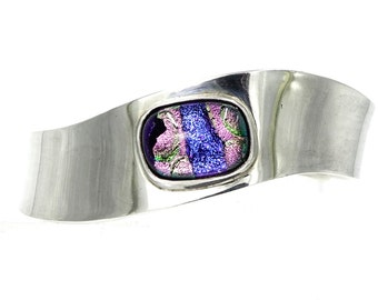 Sterling Dichroic Glass Wave Cuff Bracelet From Mexico