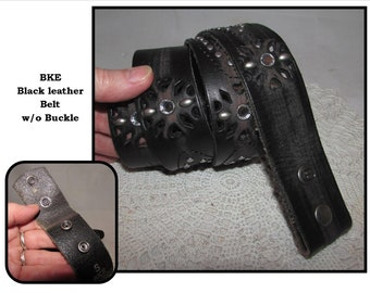 Vintage Black Leather Belt with Silver tone Studs & Rhinestones, NO buckle, BKE Buckle Brand, Charmer, Size Small
