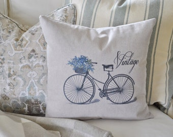 Vintage Bicycle Pillow Cover | Farmhouse Bicycle Pillow Cover | Spring Farmhouse Throw Pillow | Farmhouse Cottage Decor