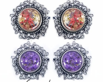 """PICK SIZE Boho Flower Plugs Gauges 0g-1 1/8"""" (8mm-28mm) Sold by PAIR"""