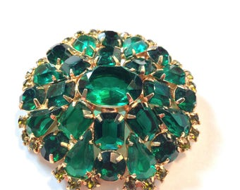 Estate Juliana Deep Emerald Green Pin Brooch- Large and Beautiful!