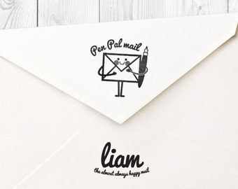 Liam pen pal mail rubber stamp - FREE SHIPPING WORLDWIDE*