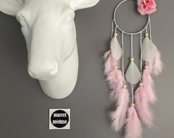 Mini Dream catcher, pink color & off-white with flower fabric