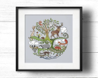 Born to Roam Wild (Lavender) - A4 Sq Giclée Print - Wild Animals, Fox, Badger, Otter, Red Squirrel, Hare, Owl, Bees, Butterflies, Tree