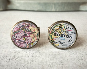 Custom Map Cufflinks, Personalized Cuff Links, Wedding Cufflinks, Groomsmen Gift, Anniversary Gift, Groom Cufflinks, Best Man Gift