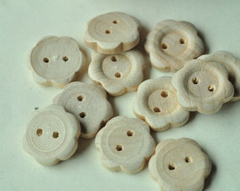 40pcs 17mm Natural Round Flower Pattern Wood Button 2 Hole Button Unfinished Wooden Button MT440