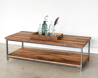 Box Frame Coffee Table / Lower Storage Shelf /Reclaimed Wood Industrial Coffee Table