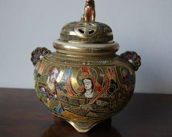 Antique Japanese Earthenware Satsuma Incense Burner Censer Hand painted