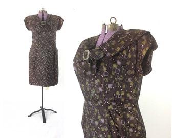 1940s Dress, Large 40s dress, Vintage dress,  1940s clothing, 40s clothing, print dress, brown dress