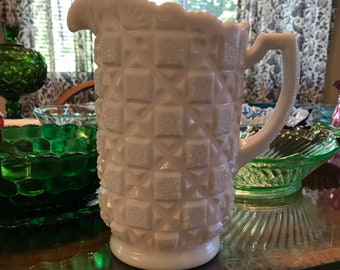 Vintage Milk Glass Pitcher - Old Quilt by Westmoreland